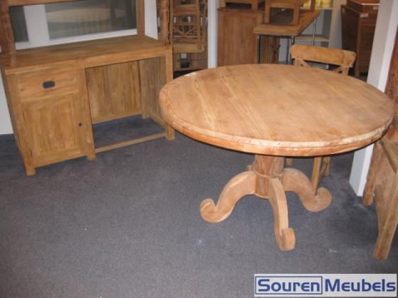 Ronde teak tafel en teakbureau teak meubelen & eiken meubelen