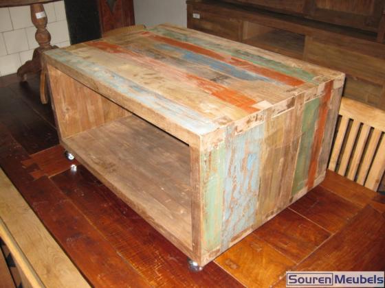 Sloophout salon tafel met wielen teak meubelen eiken for Sloophout meubels