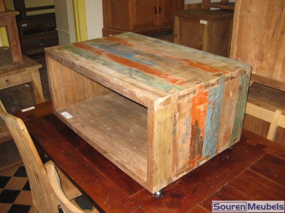 Wielen Voor Meubels : Teak sloophout kubus salontafel met wielen teak meubelen & eiken