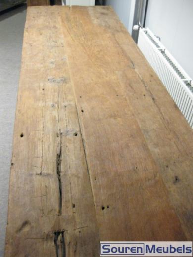 Teak tafel oud hout 400x100cm teak meubelen eiken meubelen for Hout voor tafel