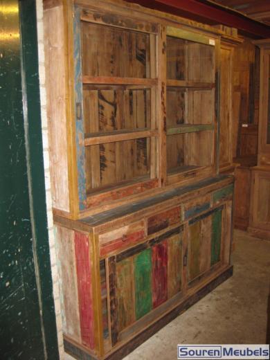 Teakhouten winkelkast sloophout teak meubelen eiken for Sloophout meubels