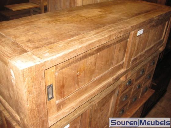 Tv meubel oud geborsteld teak teak meubelen eiken meubelen for Meubels teak