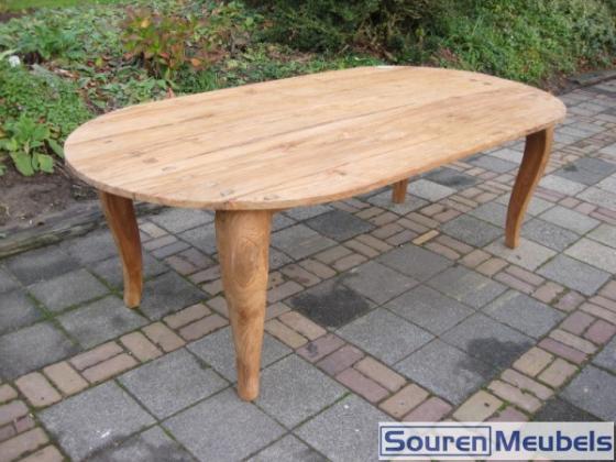 Ovale teak tafel met Queen Anne poten (2)