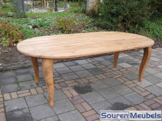 Ovale teak tafel met Queen Anne poten (3)