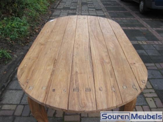Ovale teak tafel met Queen Anne poten (4)