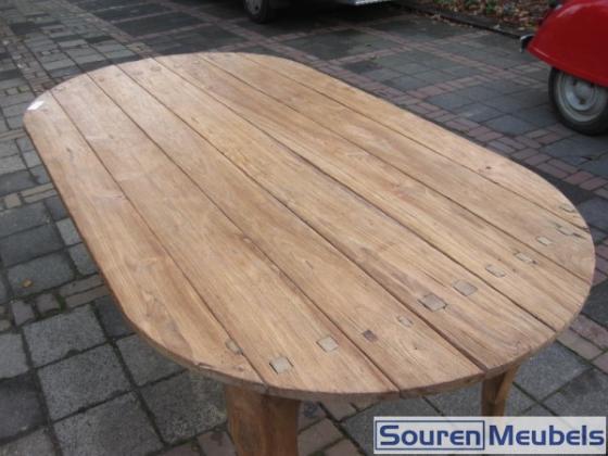 Ovale teak tafel met Queen Anne poten (6)