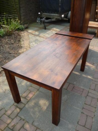 Teak tafel, koloniale tafels met insteekblad (3)