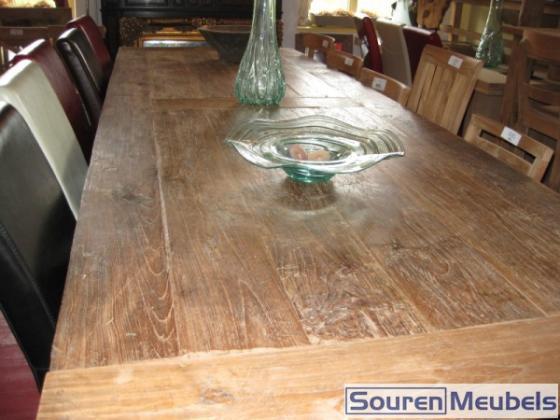 Teak tafel oud planken | Teak Meubelen & Eiken Meubelen