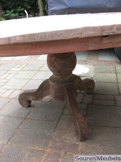 Teak tafel, ronde teak tafels oud teakhout (3)