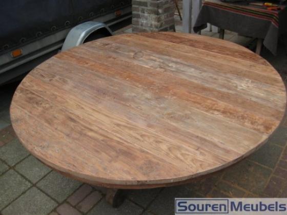 Teak tafel ronde teak tafels oud teakhout teak meubelen eiken