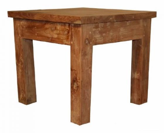 Teak tafel, teakhouten bijzettafels (4)