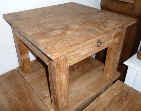 Teak tafel teakhouten bijzettafels teak meubelen for Teakhouten tafel