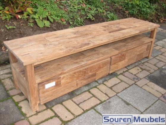 Teak tv meubel met vakken teak meubelen eiken meubelen for Meubels teak